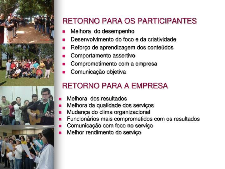 RETORNO PARA OS PARTICIPANTES