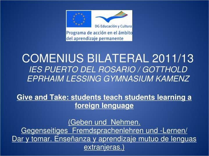 COMENIUS BILATERAL 2011/13