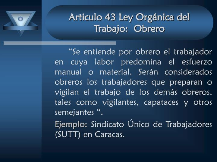 Articulo 43 Ley Orgánica del Trabajo:  Obrero