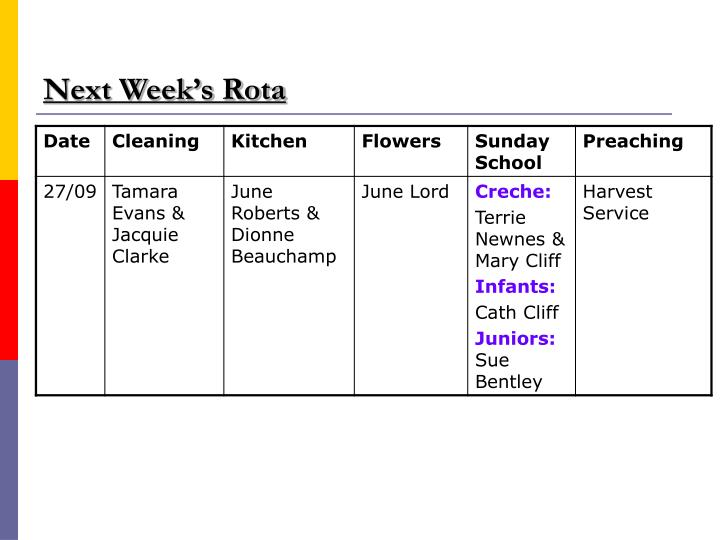 Next Week's Rota