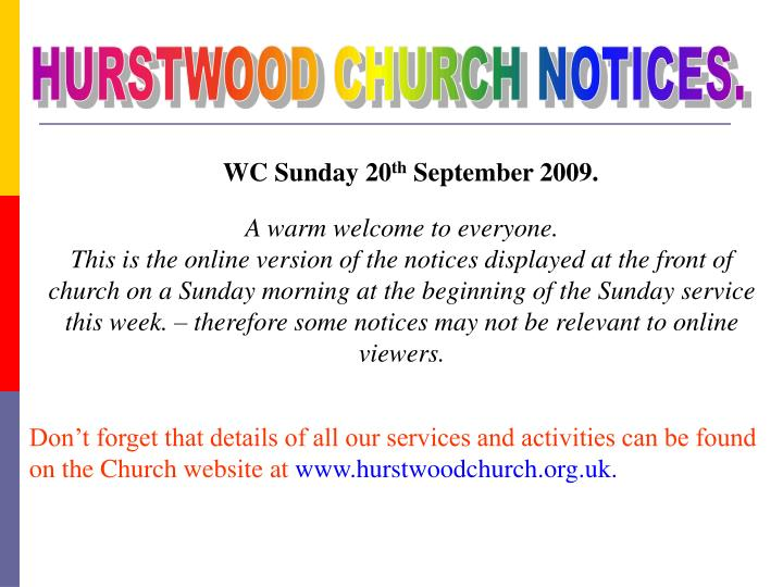 HURSTWOOD CHURCH NOTICES.
