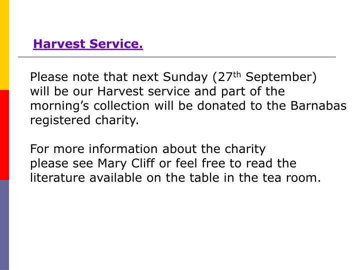 Harvest Service.