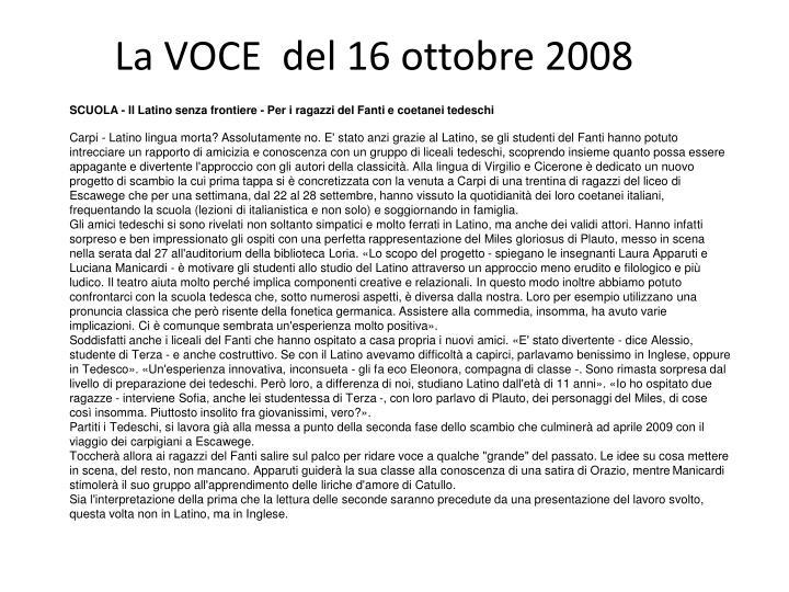 La VOCE  del 16 ottobre 2008