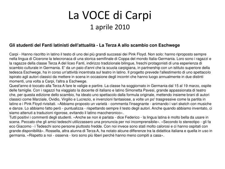 La VOCE di Carpi