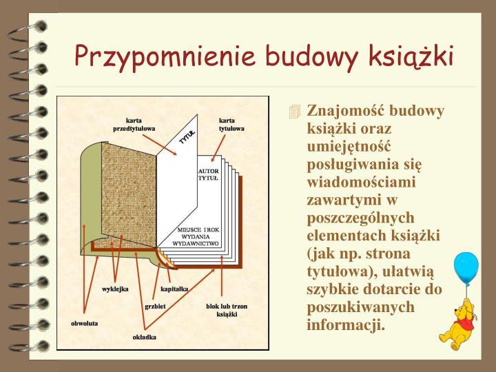 Przypomnienie budowy książki