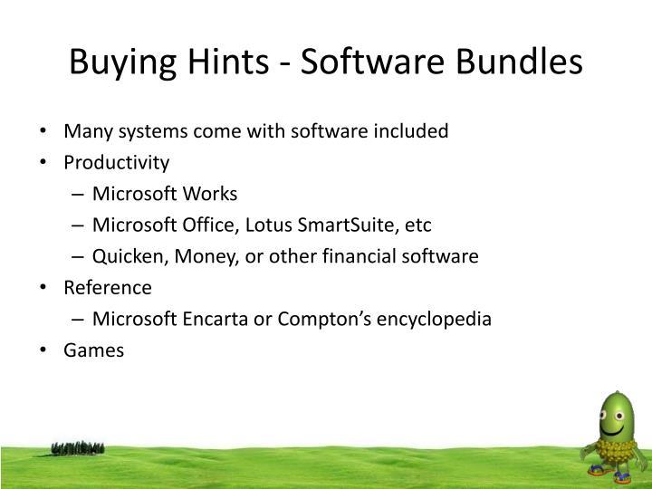 Buying Hints - Software Bundles