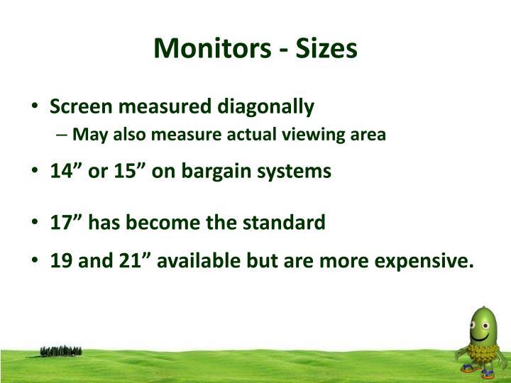 Monitors - Sizes