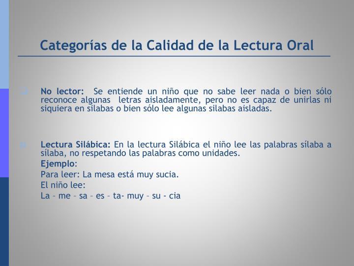 Categorías de la Calidad de la Lectura Oral