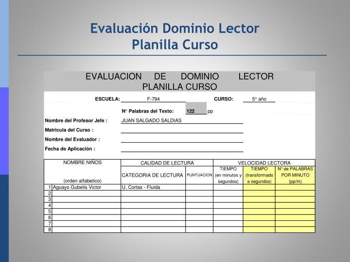 Evaluación Dominio Lector