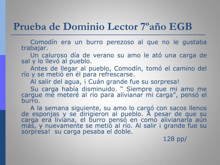 Prueba de Dominio Lector 7ºaño EGB