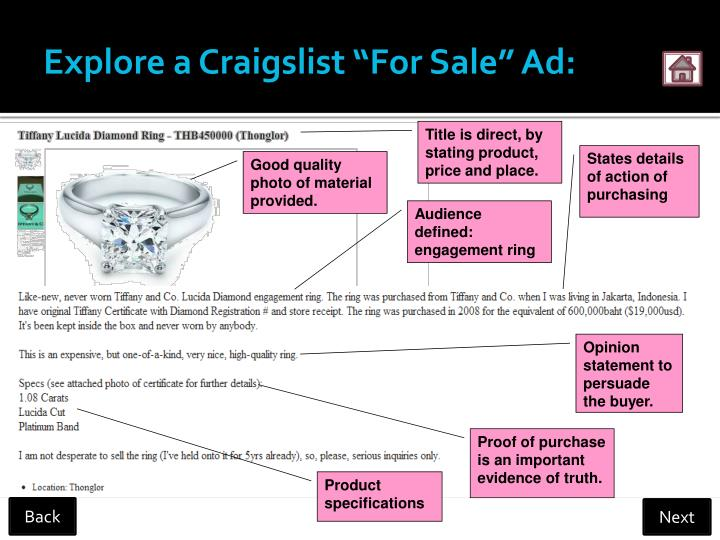 "Explore a Craigslist ""For Sale"" Ad:"