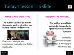 today s lesson in a slide