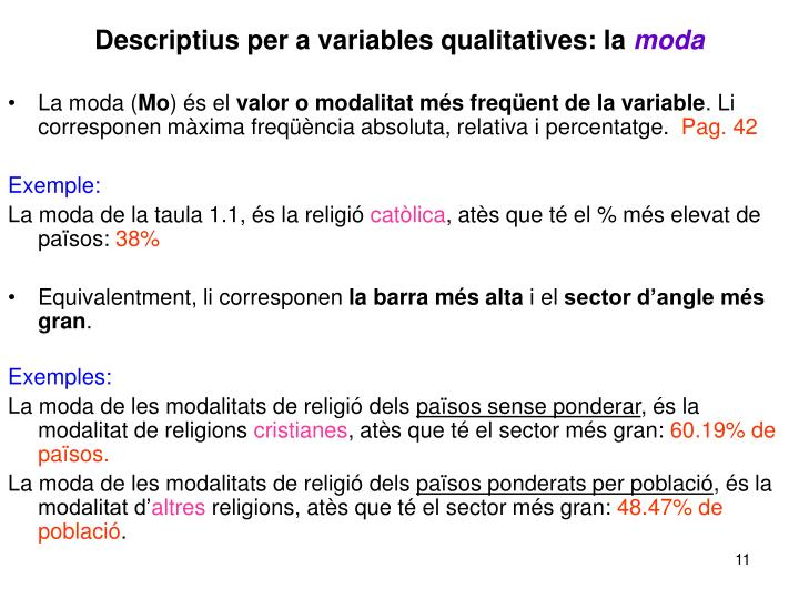 Descriptius per a variables qualitatives: la
