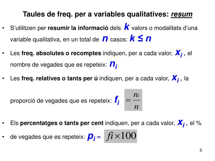 Taules de freq. per a variables qualitatives: