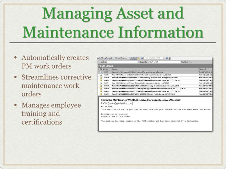 Managing Asset and Maintenance Information