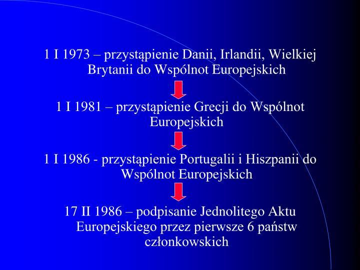 1 I 1973 – przystąpienie Danii, Irlandii, Wielkiej Brytanii do Wspólnot Europejskich
