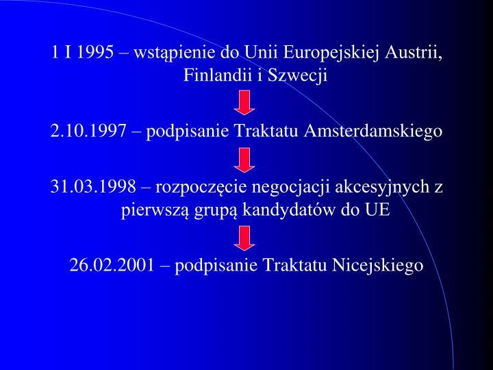 1 I 1995 – wstąpienie do Unii Europejskiej Austrii, Finlandii i Szwecji