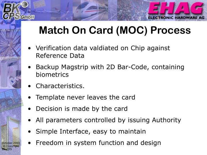 Match On Card (MOC) Process