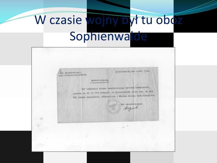 W czasie wojny był tu obóz Sophienwalde