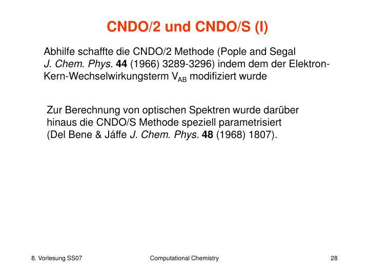 CNDO/2 und CNDO/S (I)