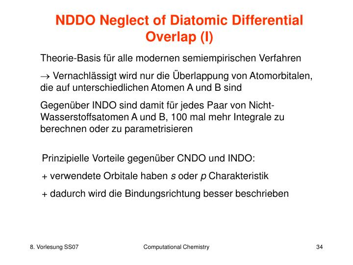 NDDO Neglect of Diatomic Differential Overlap (I)