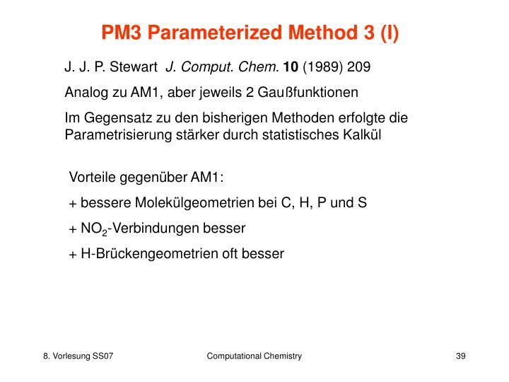 PM3 Parameterized Method 3 (I)