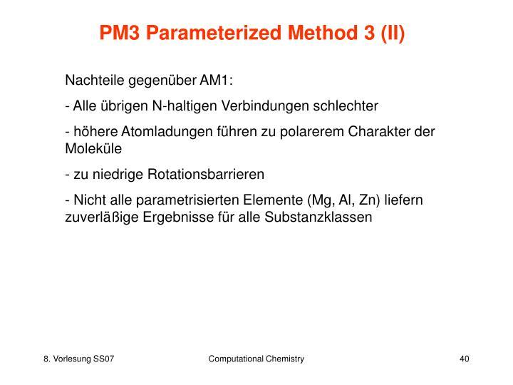 PM3 Parameterized Method 3 (II)