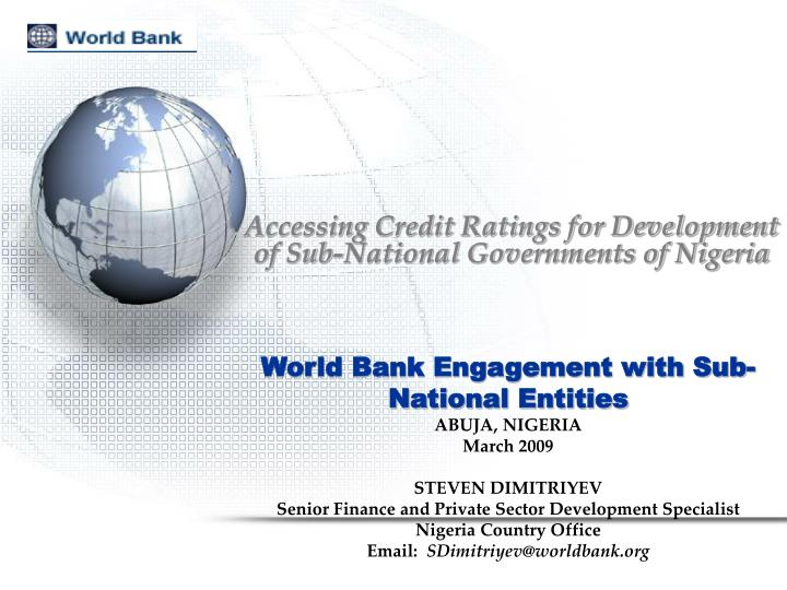 Accessing credit ratings for development of sub national governments of nigeria