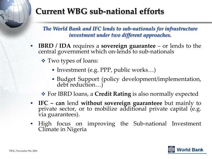 Current WBG sub-national efforts