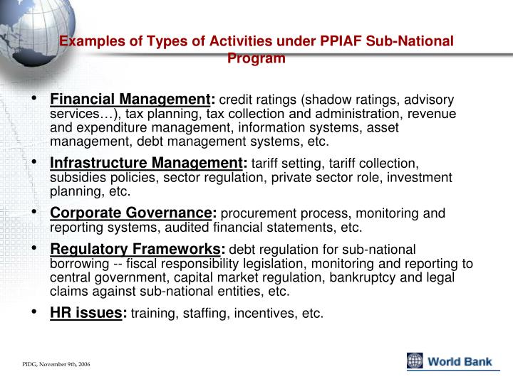 Examples of Types of Activities under PPIAF Sub-National Program