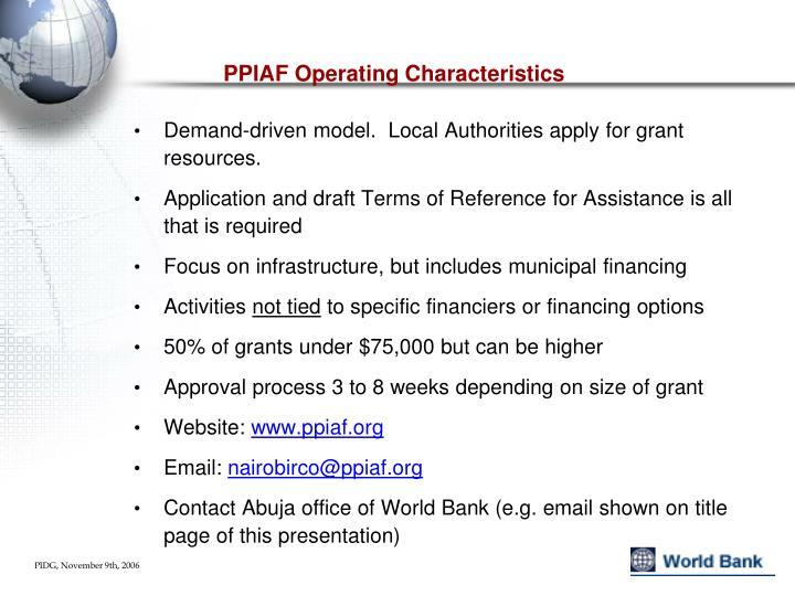 PPIAF Operating Characteristics