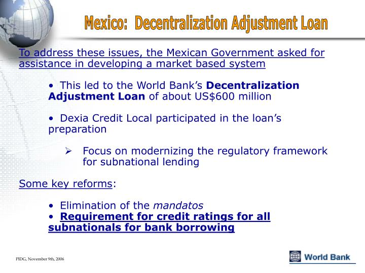 Mexico:  Decentralization Adjustment Loan