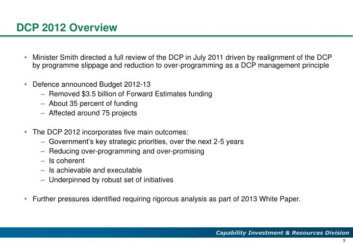 DCP 2012 Overview