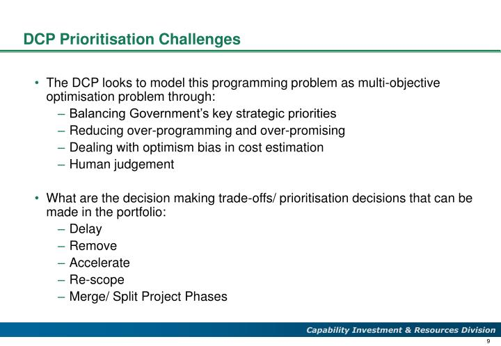 DCP Prioritisation Challenges