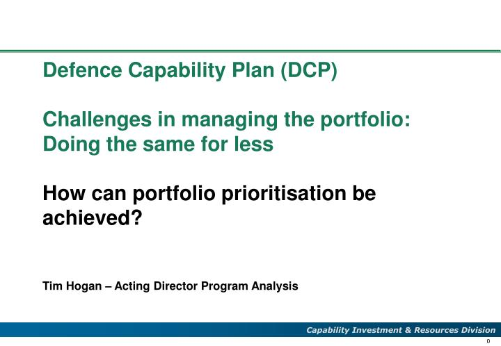 Defence Capability Plan (DCP)