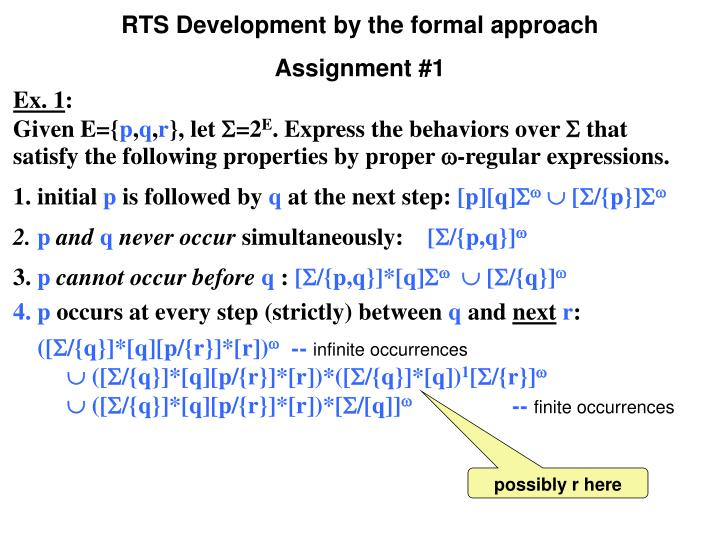 RTS Development by the formal approach