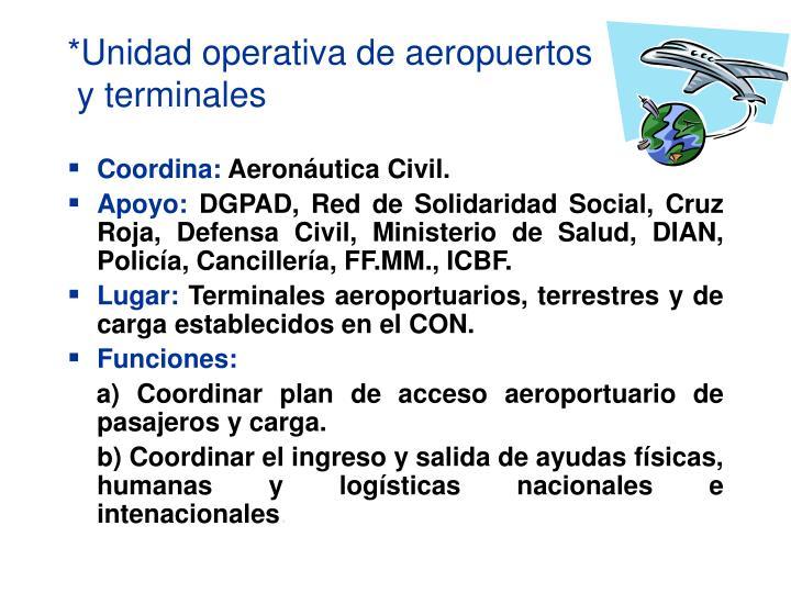 *Unidad operativa de aeropuertos