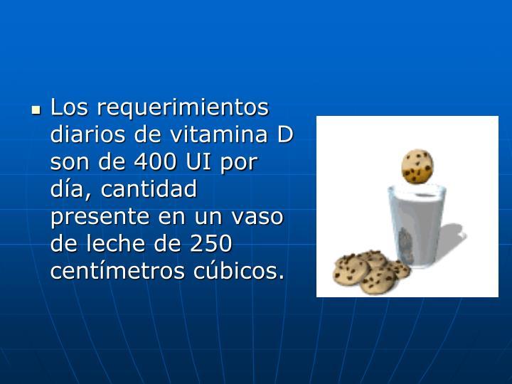 Los requerimientos diarios de vitamina D son de 400 UI por día, cantidad presente en un vaso de leche de 250 centímetros cúbicos.