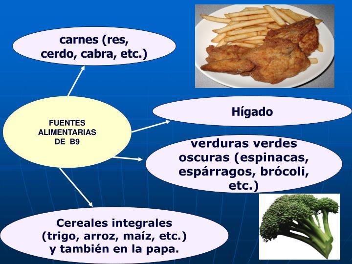carnes (res, cerdo, cabra, etc.)