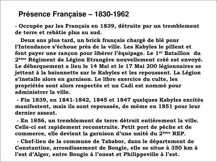 Présence Française – 1830-1962