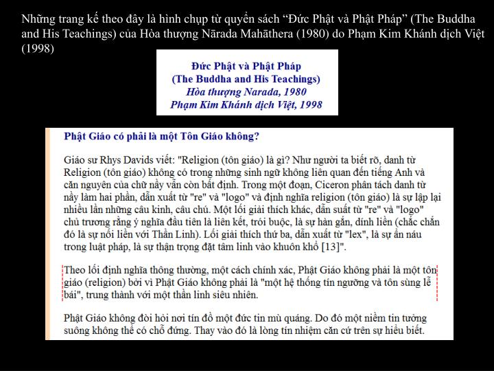 Nhng trang k theo y l hnh chp t quyn sch c Pht v Pht Php (The Buddha and His Teachings) ca