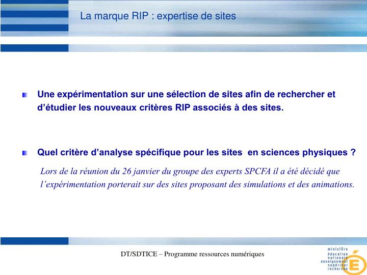 La marque RIP : expertise de sites