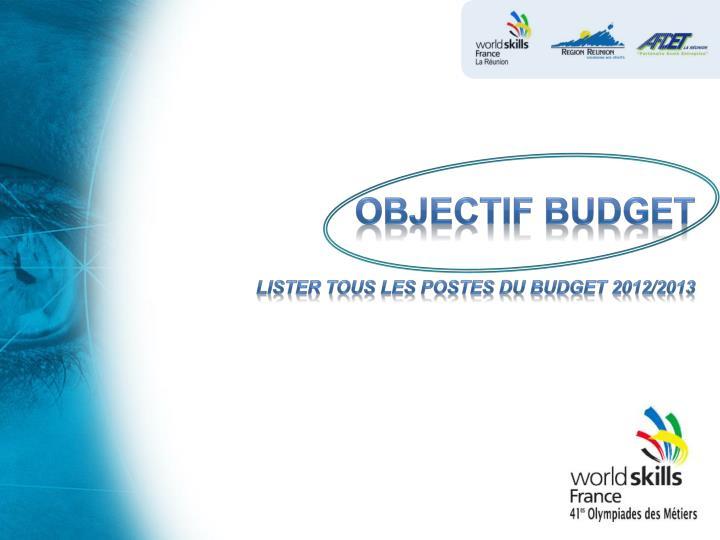 OBJECTIF budget