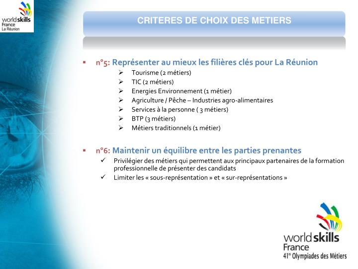 CRITERES DE CHOIX DES METIERS