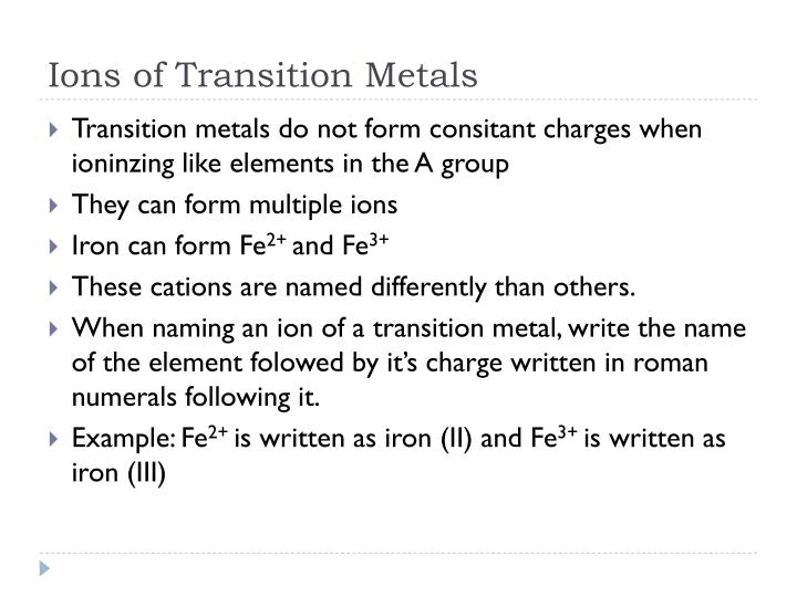 Ions of Transition Metals