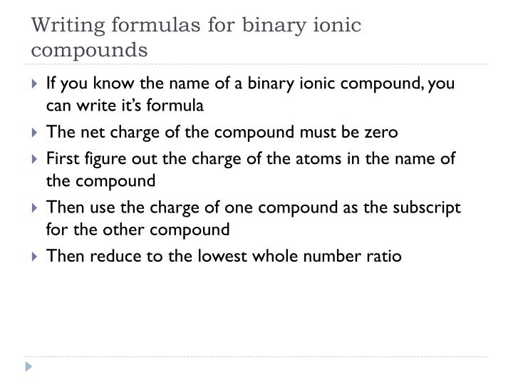 Writing formulas for binary ionic compounds