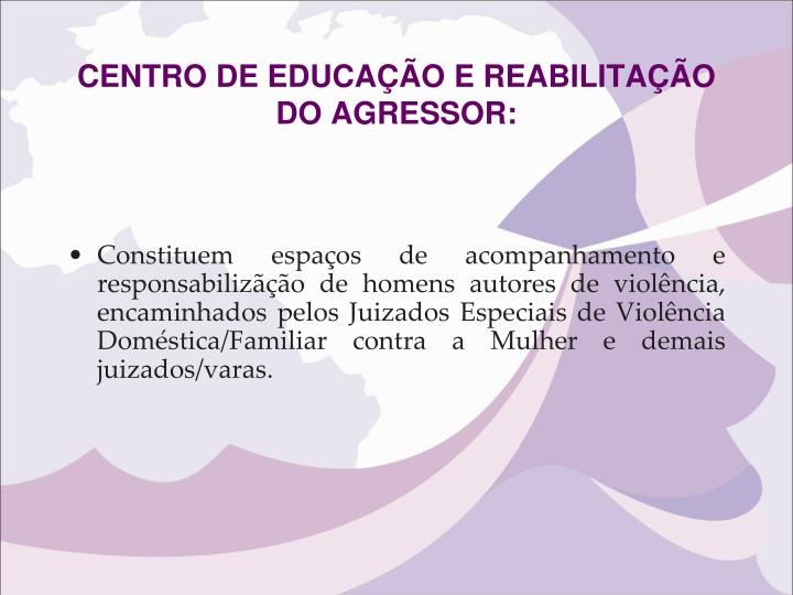 CENTRO DE EDUCAÇÃO E REABILITAÇÃO DO AGRESSOR: