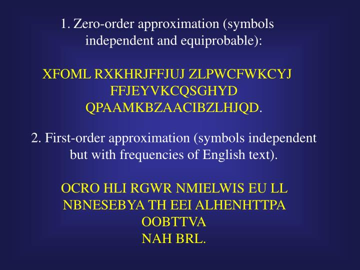 Zero-order approximation (symbols independent and equiprobable):