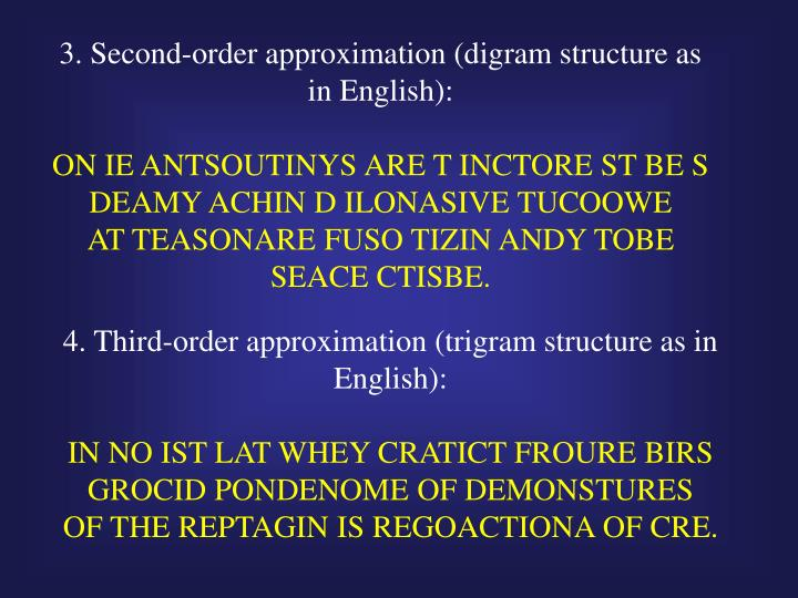 3. Second-order approximation (digram structure as in English):