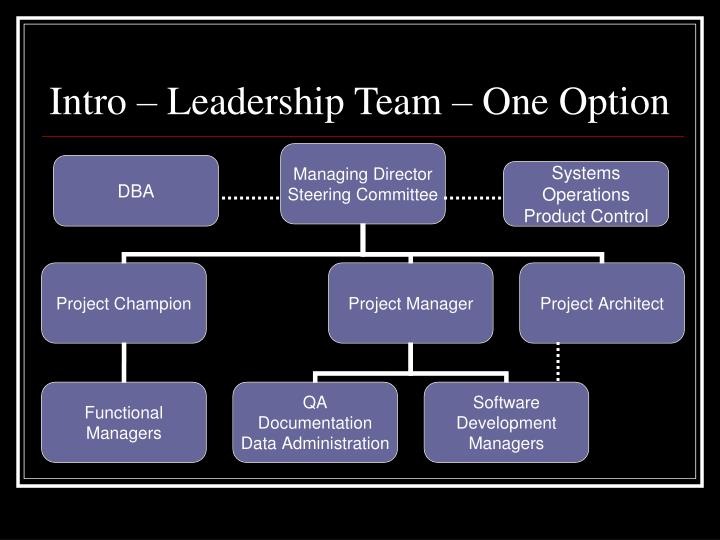 Intro leadership team one option